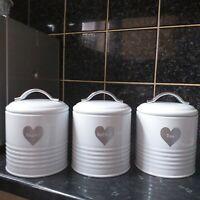 White Enamel Vintage Retro Silver Heart Tea Coffee Sugar Canisters airtight