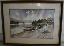 Framed watercolour, Lake District, Cumbria. By Lake Windermere?
