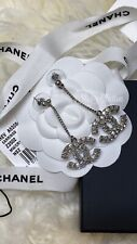 CHANEL NWT XL Sparkly CC Silver Strass Crystal Classic Earrings Posts Sold Out