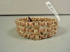 "Chanel 3 Bracelets Stackable Dark Beige Leather Gold Woven ""CC"" Chain Bangle NEW"