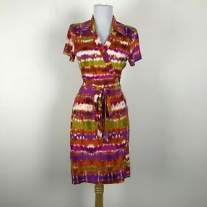 Calvin Klein Wrap Dress Womens Size 4 Orange Purple Pink Green Short Sleeve