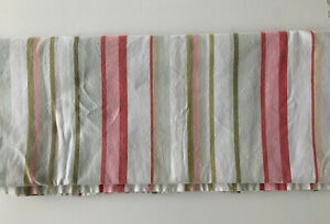 Pottery Barn Kids Emerson Stripe Shower Curtain Pinks Greens Aqua Size 72x72 EUC