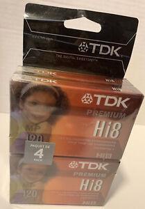 TDK Hi8 8mm 120 min Digital Video Cassette Tape 4 PK New & Sealed P6-120HPL4TGA