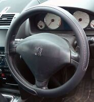 Black Steering Wheel Cover Soft Grip Leather Look for Peugeot 206 98-09