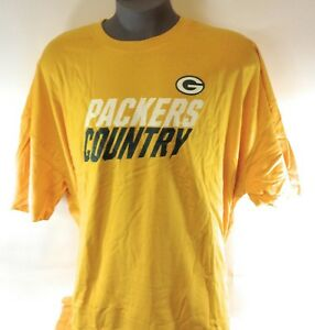 NEW Mens MAJESTIC Green Bay Packers Country Gold NFL Football Logo T-Shirt