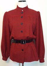 Trigere Sport For Schrader Red & Black Houndstooth Wool Sz 12 Vintage 1980's