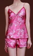 Nouveau pretty rose en satin rose et dentelle motif feuille top & short pyjama set-taille 10