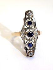 Art Deco 14K White and Yellow Gold Sapphire Diamond Elongated Ring Size 8