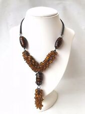 NEW Amber coloured art glass cluster beaded metal chain statement necklace