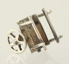 Moving Wagon Charm - 925 Sterling Silver Women's Fine Estate Pendant Dangle