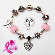 ARIES Silver Zodiac Purple Black Pink Murano Breast Cancer Ribbon Bracelet
