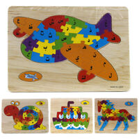 KQ_ Kids Wooden Arabic Alphabet Animal Jigsaw Puzzle Board Early Education Toy C