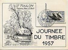 CARTE POSTALE TOULON SAINT ROCH / JOURNEE DU TIMBRE 1957 + VIGNETTE