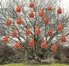 20 Orange Hanging Tree Pumpkin Halloween Haunted Party Garden Decor Leaf Bags