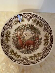 Royal Stafford Bowl Woodland Fox Round Made in England Victorian