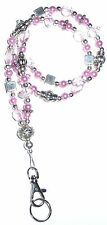 Slim Pink Fashion Women's Beaded Lanyard w/break away magnetic clasp 34 inches