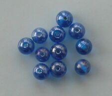 De 50: ronda 10mm lustered perlas de vidrio, azul medio, para la fabricación de joyas etc.