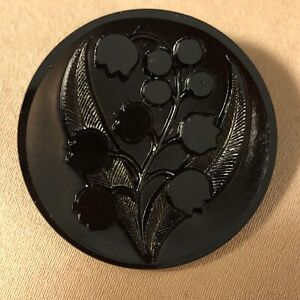 """Antique Black Glass Buttons - """"Bluebells Or Tulips"""" - Two 1-1/8"""" W/Metal Shank"""