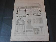 1847 INCISIONE RAFFIGURANTE LA BASILICA DI AN CLEMENTE A ROMA