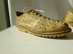 TRIPPEN Closed Damen Schuhe Leder Vintage Sand Germany Gr.40 TOP