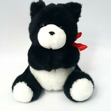 "Vintage 1990 Hallmark Heartline Plush 8"" Black White Teddy Bear Gift Card Holder"