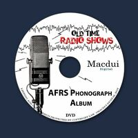 AFRS Phonograph Album Old Time Radio Shows Music 2 OTR MP3 Audio Files 1Data DVD