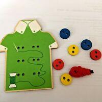 Gioco in legno incastro 6 bottoni infilare montessoriano giochi bambini manuali