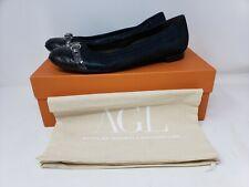 AGL Attilo Giusti Metal Navy Coal Brown Leather Croc Cap Toe Ballet Flat 38.5/8