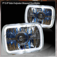 7X6 Square H6014 H6052 H6054 Halo Projector Chrome Housing Clear Lens Headlights