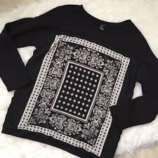 Forever 21 Black Bandana Front Sweatshirt Size Small