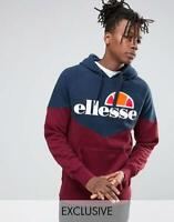Ellesse Mens Hoodie Hoody With Chest Logo Chevron Navy Blue Burgundy Small New