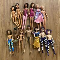 Lot Of 13 Barbie Dolls, Some Vintage, Mattel Disney Marvel's
