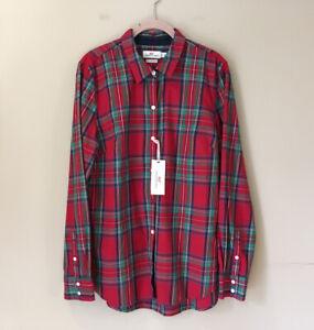 NWT Vineyard Vines Boy Jolly Plaid Classic Button Down Shirt Cashmere  Red Sz 14