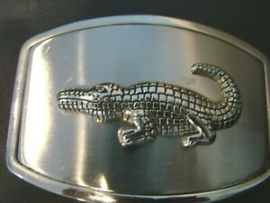 ALLIGATOR SHINY SILVER METAL BELT BUCKLE-RAISED DESIGN 4 1/2 BY 3 1/2 INCHES