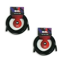 2 VRL 3 Pin 50' ft DMX Pro Stage DJ Lighting Low Capacitance Shielded Cables