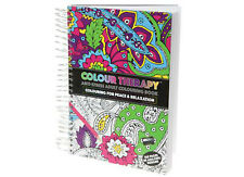 SPIRAL BOUND A5 HARD BACK COLOURING BOOK - COLOUR THERAPY ANTI STRESS DOODLE ART