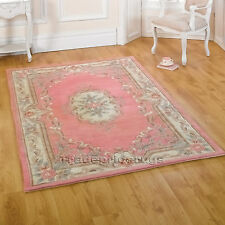 Luxury Rugs 100 Wool Thick Hard Wearing Small Large Runner Heavy Floral Modern 150 X 240cm Pink Lotus