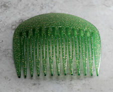 Vintage Hair Comb Side COmb Green Glitter Signed Made in France Accessory