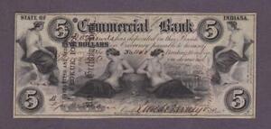 1858 $5 BEAUTIFUL *GEM UNC* TERRE HAUTE, IN Commercial Exchange Bank Obsolete!