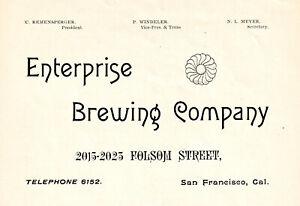 1892 ENTERPRISE BREWING CO, SAN FRANCISCO, CALIFORNIA PRE-PRO BEER ADVERTISEMENT
