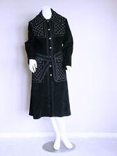 vtg 60s BLACK boho hippy space age folk VAMP goth mod LEATHER trenchcoat jacket
