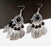 1 Bohemian Tear Drop Pair of Black Agate Gemstone Metal Feather Earrings - # 164
