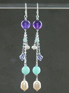 Alex Polizzi Style Long Earrings ~ FW Pearls, Amethyst, Aquamarine & 925 Silver