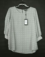 Adrianna Papell Women Ivory Scoop Neck Pebbled 3/4 Sleeve Crepe Blouse Top M $79