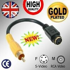 *GOLD* S-Video/VHS Female to RCA Yellow Video Composite Male Adapter Cable