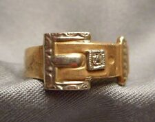 Antique 10K Gold Buckle Motif Band Ring w/ Tiny Diamond - for Child? - Size 3.5