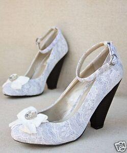 Joyfolie Women's Eloise Gray Vintage Lace Bow Ankle Strap Heel Shoe Sz. 9.5 NEW