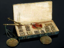 antike seltene Münzwaage Goldwage Waage ca. 1850 Balkenwaage im Reiseetui