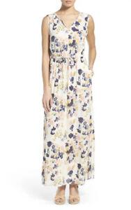 NWT Lucky Brand Floral White Tank Maxi Pockets V Neck Long Dress Spring Sz XS