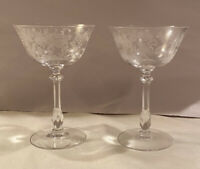"Set of 2 Tiffin Rose Crystal  Etched 6"" Tall CHAMPAGNE SHERBET Martini GLASSES"